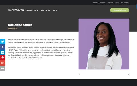 Screenshot of Team Page trackmaven.com - Adrienne Smith – TrackMaven - captured Oct. 12, 2016