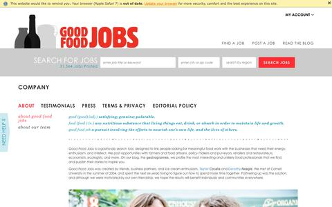 Screenshot of About Page goodfoodjobs.com - Good food jobs. :: About us - captured July 15, 2016
