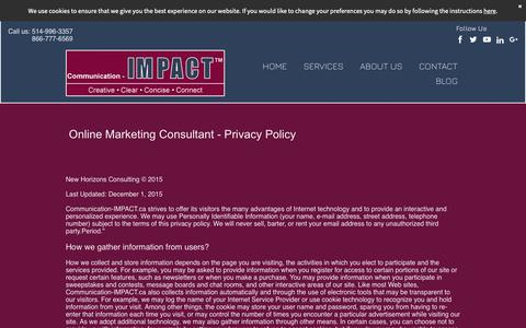 Screenshot of Privacy Page communication-impact.ca - SEO Montreal - Online Marketing Montreal Privacy Policy - captured Oct. 18, 2018