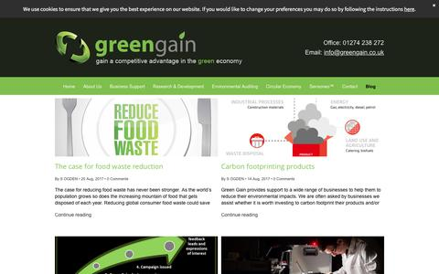Screenshot of Blog greengain.co.uk - Sustainable development measures for companies in Yorkshire - captured Sept. 10, 2017