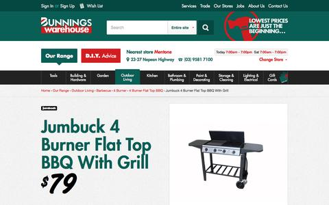 Screenshot of Home Page bunnings.com.au - Jumbuck 4 Burner Flat Top BBQ With Grill I/N 3180369 | Bunnings Warehouse - captured Oct. 1, 2015
