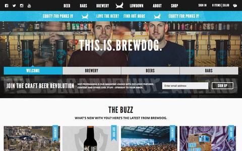 Screenshot of Home Page brewdog.com - BrewDog UK | Scottish Craft Beer Company - captured May 13, 2015