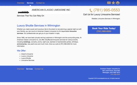 Screenshot of Services Page amerclasslimoma.com - Limousine and Sedan Services - American Classic Limousine Inc - Wilmington - MA - captured July 10, 2018