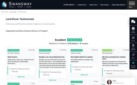 Screenshot of Testimonials Page swanswaygarages.com - Land Rover Testimonials | Swansway Land Rover - captured Oct. 23, 2018
