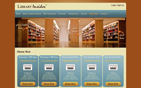 Screenshot of Signup Page libraryinsider.com - Order Now - LibraryInsider.com LibraryInsider.com - captured June 2, 2016