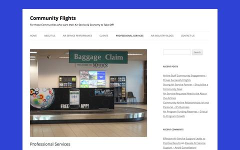 Screenshot of Services Page communityflights.com - Community Flights Professional Air Services - captured Sept. 30, 2014
