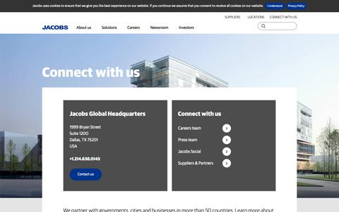 Screenshot of Contact Page jacobs.com - Connect | Jacobs - captured Feb. 14, 2019