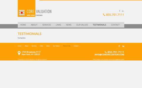 Screenshot of Testimonials Page corevaluation.com - CORE Valuation | Global Business Valuation Firm | Testimonials - captured Sept. 26, 2014