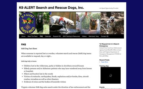 Screenshot of FAQ Page k9alert.org - FAQ | K9 ALERT Search and Rescue Dogs, Inc. - captured Oct. 3, 2014