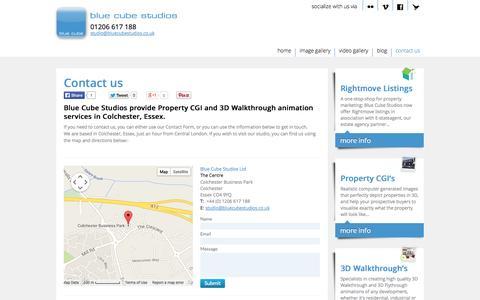 Screenshot of Contact Page bluecubestudios.co.uk - Contact Us - Blue Cube Studios - captured Oct. 5, 2014