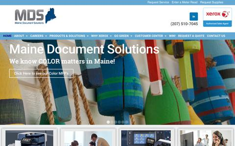 Screenshot of Home Page mdsxrx.com - Home - Maine Document Solutions - captured Nov. 12, 2018