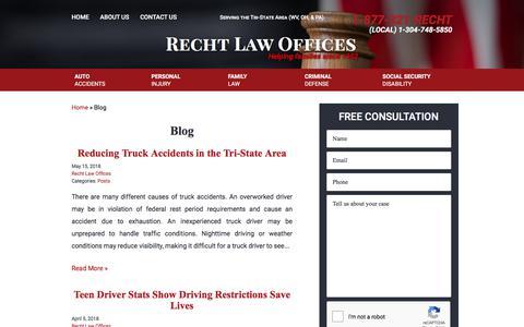 Screenshot of Blog rechtlaw.com - Blog : Weirton, WV Lawyers : Recht Law - captured June 29, 2018
