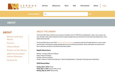 Screenshot of About Page veronapubliclibrary.org - About | Verona Public Library - captured Sept. 20, 2018