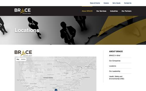 Screenshot of Locations Page brace.com - Headquarters - Brace - captured Nov. 26, 2016