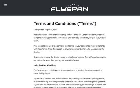 Screenshot of Terms Page flyspansystems.com - Terms & Conditions — Flyspan - captured June 9, 2017