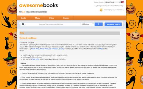 Screenshot of Terms Page awesomebooks.com - Terms and Conditions - AwesomeBooks.com - captured Oct. 29, 2014