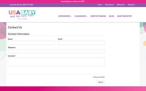 Screenshot of Contact Page usababy.com - Contact Us - captured Jan. 18, 2016