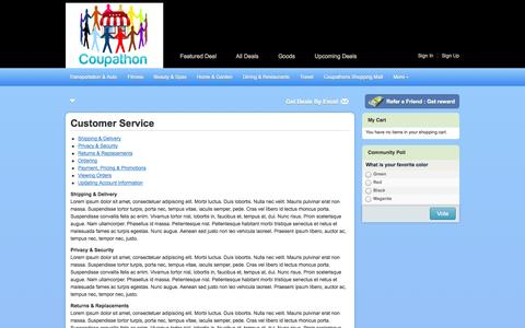 Screenshot of Support Page coupathon.com - Customer Service - captured Sept. 30, 2014