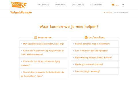 Screenshot of FAQ Page shootsandmore.nl - Veel gestelde vragen F.A.Q. - captured Nov. 18, 2016