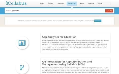 Screenshot of Developers Page cellabus.com - Developer » Cellabus | MDM for Education | Mobile Device Management and Application Platform for K12 Schools - captured July 19, 2014