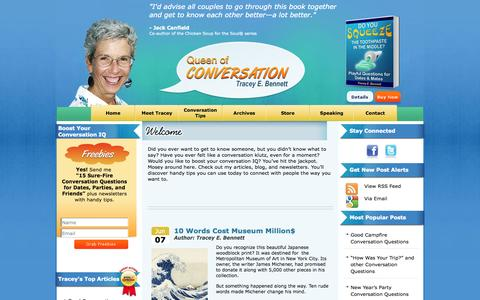 Screenshot of Home Page Blog Privacy Page Site Map Page queenofconversation.com - Queen of Conversation Tracey Bennett - captured Oct. 3, 2014