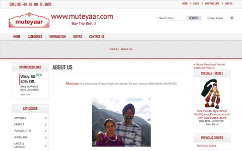 Screenshot of About Page muteyaar.org - About Us Muteyaar - The Oldest Punjabi Online Shopping Store, Buy the Best !! - captured Dec. 31, 2016