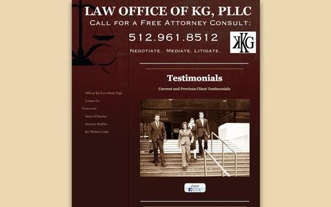 Screenshot of Testimonials Page lawofficeofkg.com - Law Office of KG, PLLC - Testimonials - Austin, TX - captured Oct. 2, 2014