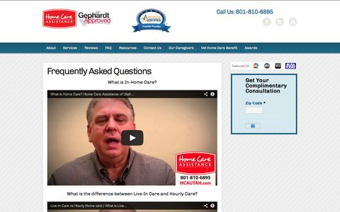 Screenshot of FAQ Page hcautah.com - Frequently Asked Questions - Home Care Assistance of Utah - captured Oct. 3, 2014