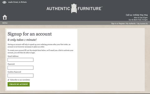 Screenshot of Signup Page authenticfurniture.co.uk - Signup for an account - captured Oct. 4, 2014