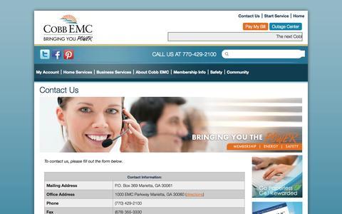 Screenshot of Contact Page cobbemc.com - Contact Us   Cobb EMC - captured Sept. 24, 2014