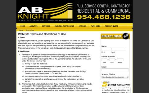 Screenshot of Terms Page abknight.com - Terms of Use - Fort Lauderdale Construction Company, General Contractor, Design/Build Service in Florida - captured Oct. 1, 2014