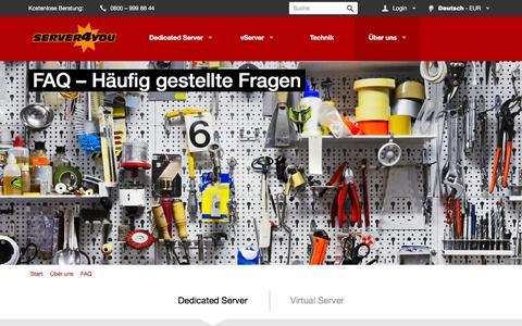 Screenshot of FAQ Page server4you.de - FAQ - Antworten auf Ihre Server-Fragen - captured Jan. 14, 2016