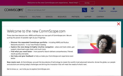 Screenshot of Support Page commscope.com - ARRIS Support | CommScope - captured Feb. 15, 2020
