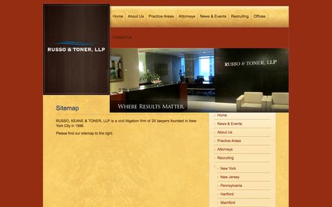 Screenshot of Site Map Page russotoner.com - New York Litigation Attorneys - NY Construction Lawyers - Russo & Toner LLP - captured Oct. 7, 2014