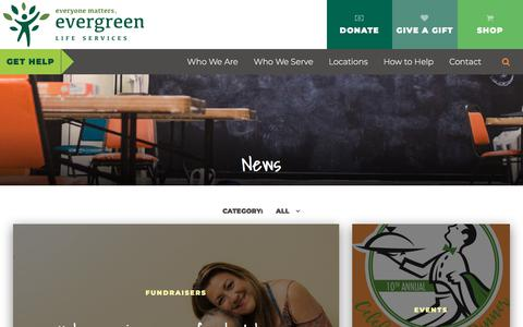 Screenshot of Press Page evergreenls.org - News | Recent headlines from Evergreen Life Services - captured Nov. 20, 2017
