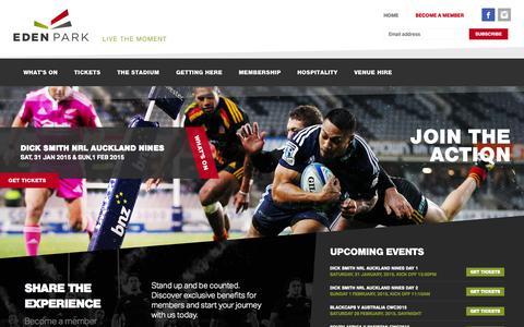 Screenshot of Home Page edenpark.co.nz - Eden Park | Live the Moment | New Zealand Sports Stadium - captured Jan. 26, 2015