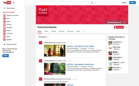 Screenshot of YouTube Page youtube.com - fluidmotiontheatre  - YouTube - captured Oct. 23, 2014