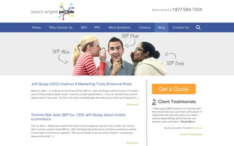Screenshot of Press Page searchenginepeople.com - News Archive | Search Engine People Blog - captured Sept. 18, 2014