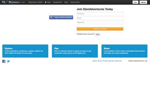 Screenshot of Signup Page elanadventures.com - Sign up - Elan Adventures - captured Sept. 23, 2014