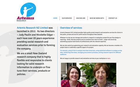 Screenshot of Home Page artemis-research.co.nz - Artemis Research NZ Limited - captured Oct. 4, 2014
