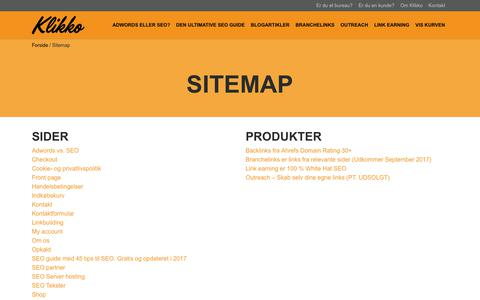 Screenshot of Site Map Page klikko.dk - Sitemap - Klikko.dk - captured Sept. 29, 2017