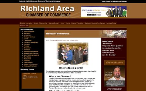 Screenshot of FAQ Page mrachamber.com - Mansfield-Richland Area Chamber of Commerce - Mansfield, OH - captured Oct. 26, 2014