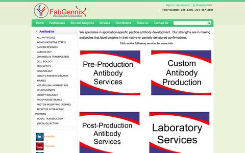Screenshot of Services Page fabgennix.com - Custom Antibody Production Laboratory Services-FabGennix Inc. - captured Oct. 5, 2014