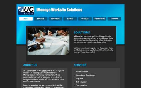 Screenshot of Services Page uclogic.com - iManage Worksite Utilities and Solutions - captured Sept. 26, 2015