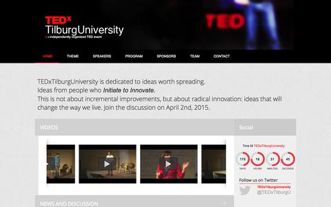 Screenshot of Home Page Press Page tedxtilburguniversity.nl - Home - TEDxTilburgUniversity 2015   Initiate to Innovate - captured Oct. 8, 2014