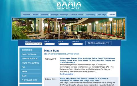 Screenshot of Press Page bahiahotel.com - Media | Bahia Resort Hotel - captured June 22, 2017