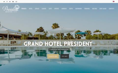 Screenshot of Home Page grandhotelpresident.com - Hotel villaggio 4 stelle in Calabria sul mare a Siderno - captured July 22, 2018