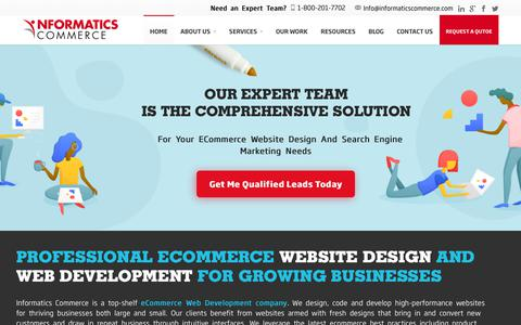 Screenshot of Home Page informaticscommerce.com - Informatics Commerce: eCommerce Design and Development, Houston, TX - captured July 13, 2018