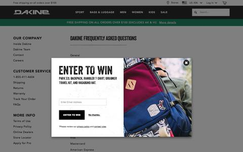 Screenshot of FAQ Page dakine.com - Frequently Asked Questions  | Dakine - captured July 11, 2017
