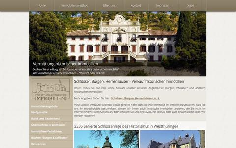 Screenshot of Home Page Site Map Page schloss-burg-verkauf.de - Schlösser, Burgen, Herrenhäuser - Verkauf historischer Immobilien - captured Sept. 4, 2016